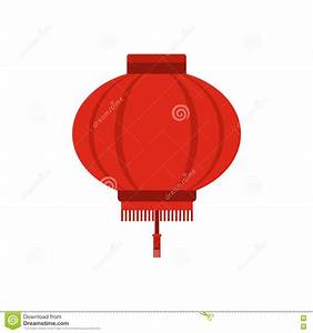 Red Chinese Lantern Icon, Flat Style Stock Vector - Image ...