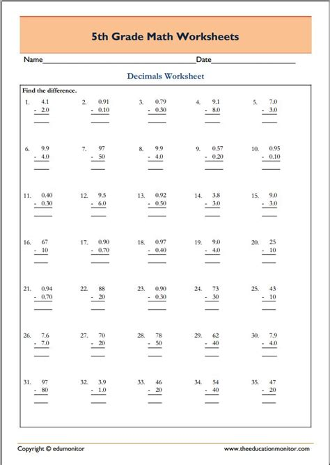 5th grade common math worksheet subtraction free printable worksheets for 5th grade