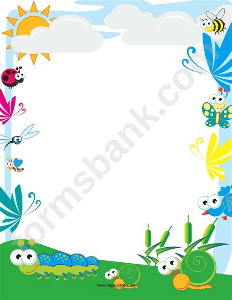 cute insect border printable