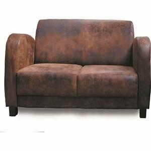 canape deux places microfibre vieux cuir With canapé deux places en cuir