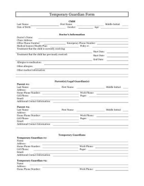 temporary guardianship form    printable table
