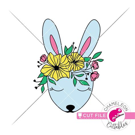 This fun new layered design will certainly help with your easter projects or decorations. Cute Easter Bunny with Spring flowers layered svg png dxf ...