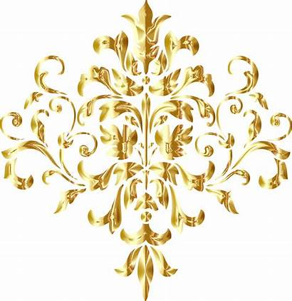 Golden Gold Background Damask Clipart Transparent