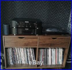 hifi rack cabinet entertainment storage unit wooden retro