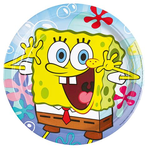 8 Plates Spongebob Paper Round 228 Cm Amscan Europe