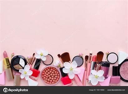 Makeup Cosmetics Background Brush Pastel Pink Decorative