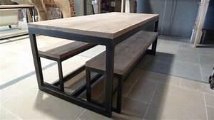 Table Salon Metal : table de salon en bois et m tal et bancs bca mat riaux anciens ~ Teatrodelosmanantiales.com Idées de Décoration