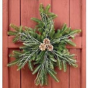 Create a snowflake wreath using the left over branches cut