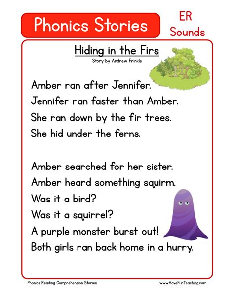 reading comprehension worksheet hiding in the firs 569 | free phonics reading comprehension er sounds