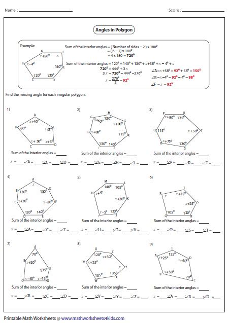 Find Missing Angles Worksheet Polygon Worksheets