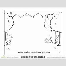 Finish The Drawing What Kind Of Animals Can You See?  Coloring Pages  Art Worksheets, Art