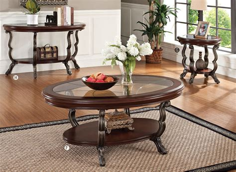 4pc Bavol Cherrybrown Traditional Cocktail Coffee Table Set