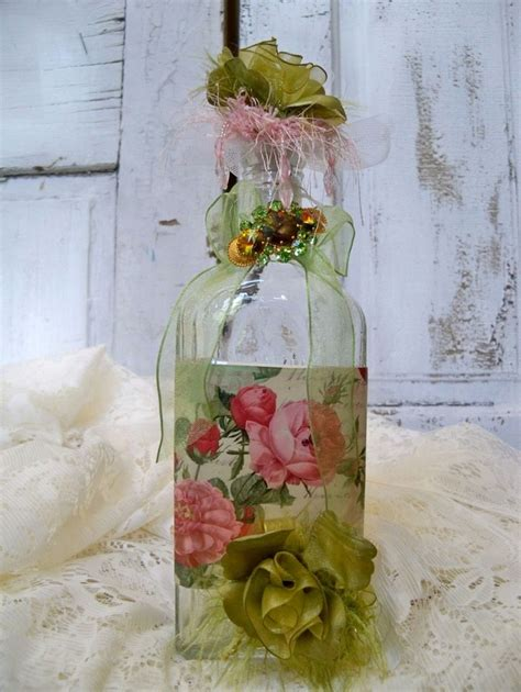 Decorated Art Recycled Glass Bottle Shabby Chic Roses