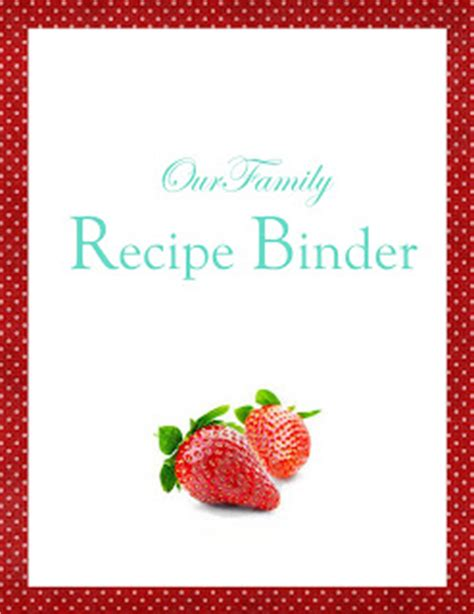 recipe binder cover page