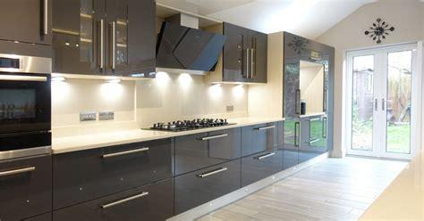 gloss kitchen ideas contemporary gloss grey kitchen design from premier
