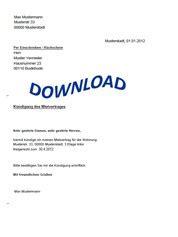kündigung mietvertrag musterbrief k 252 ndigung f 252 r unbefristeten mietvertrag beispiel und vorlage anhand musterbrief in pdf