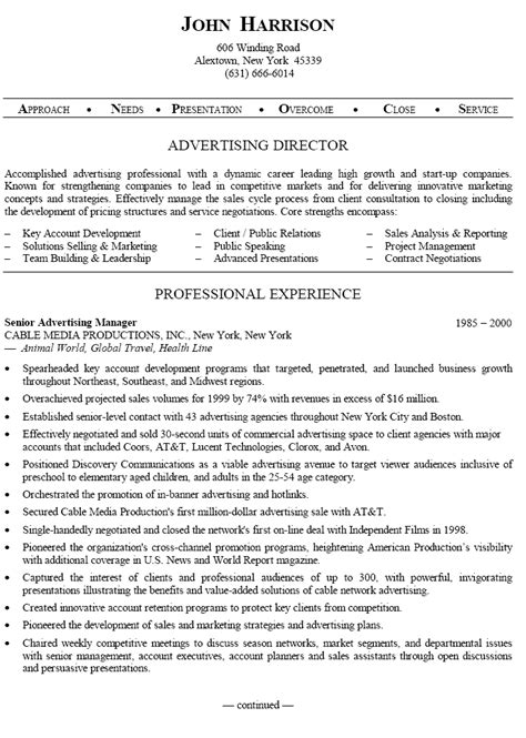Sle Advertising Project Manager Resume by Senior Advertising Manager Sle Resume Uxhandy