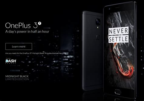the midnight black oneplus 3t goes on sale at midnight edt
