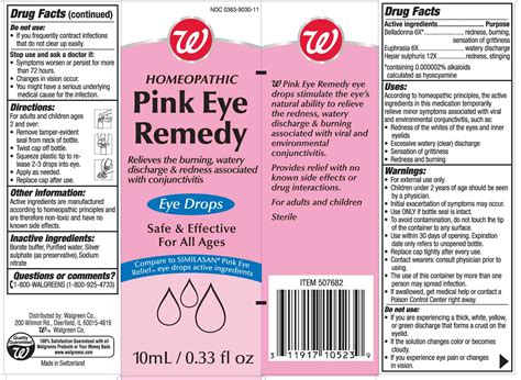 Dailymed Pink Eye Remedy Belladonna And Euphrasia And