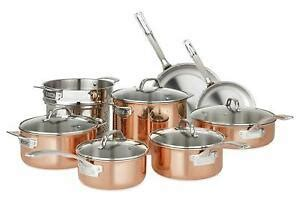 viking culinary   copper stainless steel cookware set  piece ebay