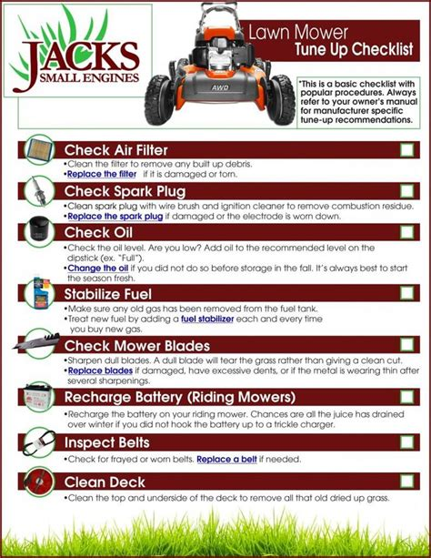 mower checklist lawn mower mower lawn mower repair