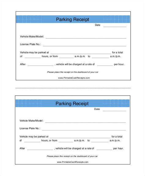 parking receipt template free costumepartyrun
