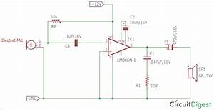 Circuit Diagram For Simple Microphone To Speaker Circuit