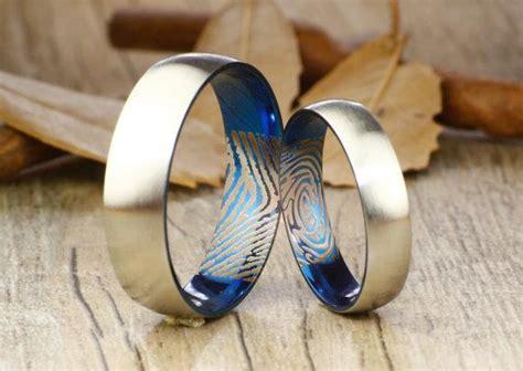 actual finger print rings set handmade blue matte
