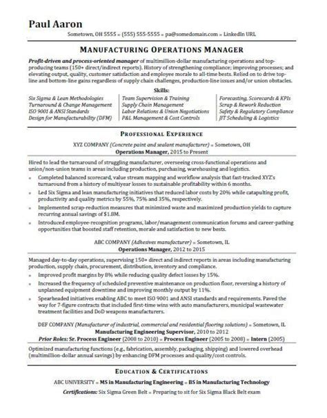 Resume Of Manager Operations by Shipping Manager Resume 7 Shipping Manager Resume Sle
