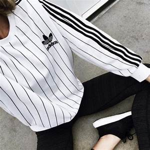 Sweater: adidas, striped sweater, white, baddies, trendy ...