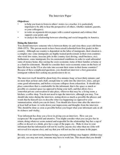 wonderful sample interview essay thatsnotus