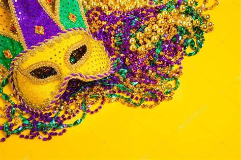 Mardi Gras Background Mardi Gras Mask On Yellow Background Stock Photo
