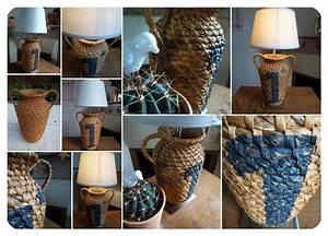 Abat Jour Paille : lampe poser vase paill custom 39 bricol 39 boutique ~ Teatrodelosmanantiales.com Idées de Décoration