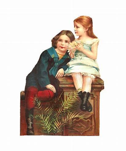 Victorian Boy Sitting Bench Stylish Graphic Scrap