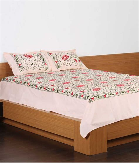 Unique Crafts Cotton Embroidered Bed Sheets With 2 Pillow