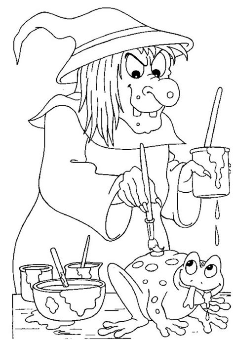 creepy witch painting  frog  halloween day coloring page  print