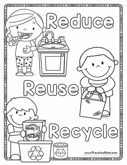 Earth Recycle Reduce Reuse Coloring Preschool Printables