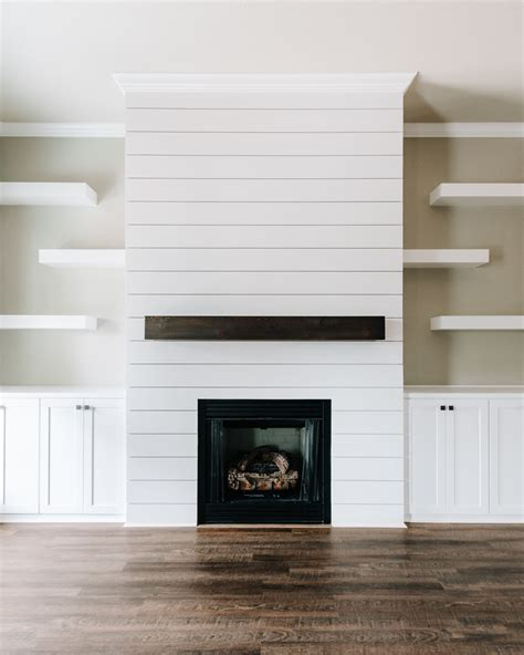 Shiplap Fireplace by Modern Rustic White Shiplap Fireplace Featuring