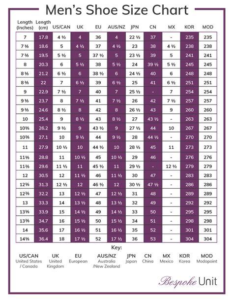 shoe size conversion chart  uk eu jpn cn mx kor