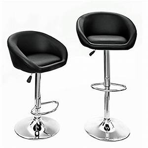 hollylife lot de 2 tabourets de bar en simili cuir chaise With deco cuisine avec chaise cuir noir