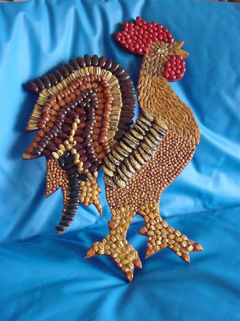 seed mosaic rooster chicken figure seed picture crop art