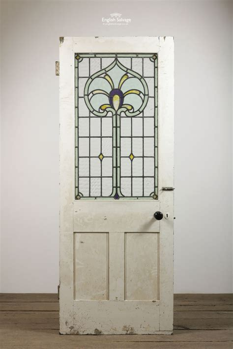 art nouveau stained glass pine door