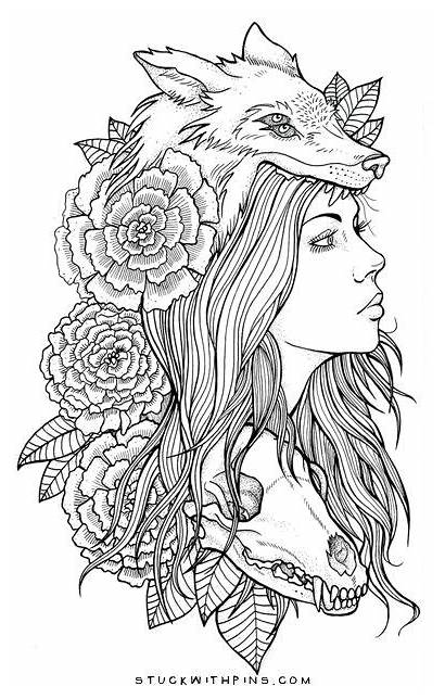 Tattoo Head Woman Animal Wearing Wolf Drawings