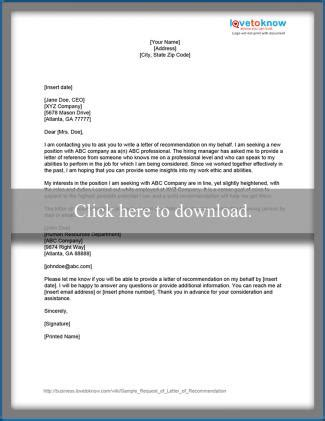 request for letter of recommendation sle request for a letter of recommendation lovetoknow 27549