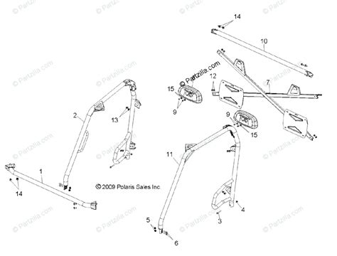 polaris side by side 2011 oem parts diagram for chassis cab frame all options partzilla com