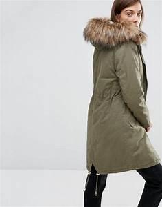 Parka Femme Vrai Fourrure : new look jeans discount code new look parka avec fausse fourrure kaki fonc femme manteaux ~ Melissatoandfro.com Idées de Décoration