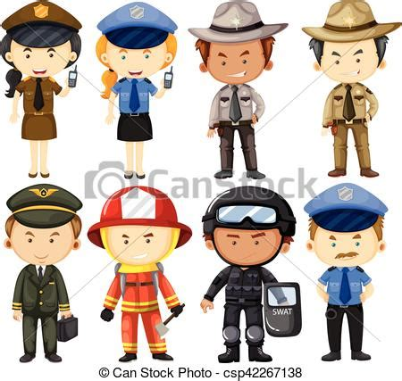 12202 different professions clipart in different uniforms illustration vectors