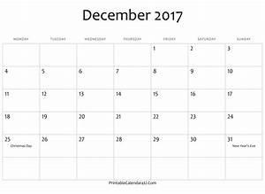 Calendar December 2017 Template Word, PDF - 2017 Calendar ...