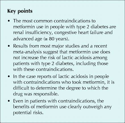 metformins contraindications   contraindicated cmaj