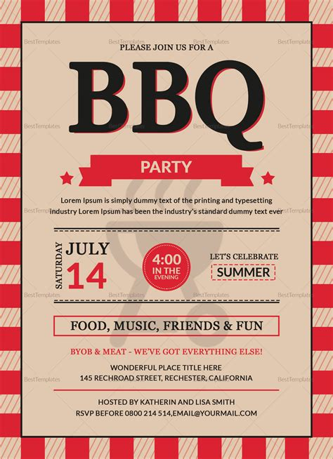 bbq party invitation card design template  word psd